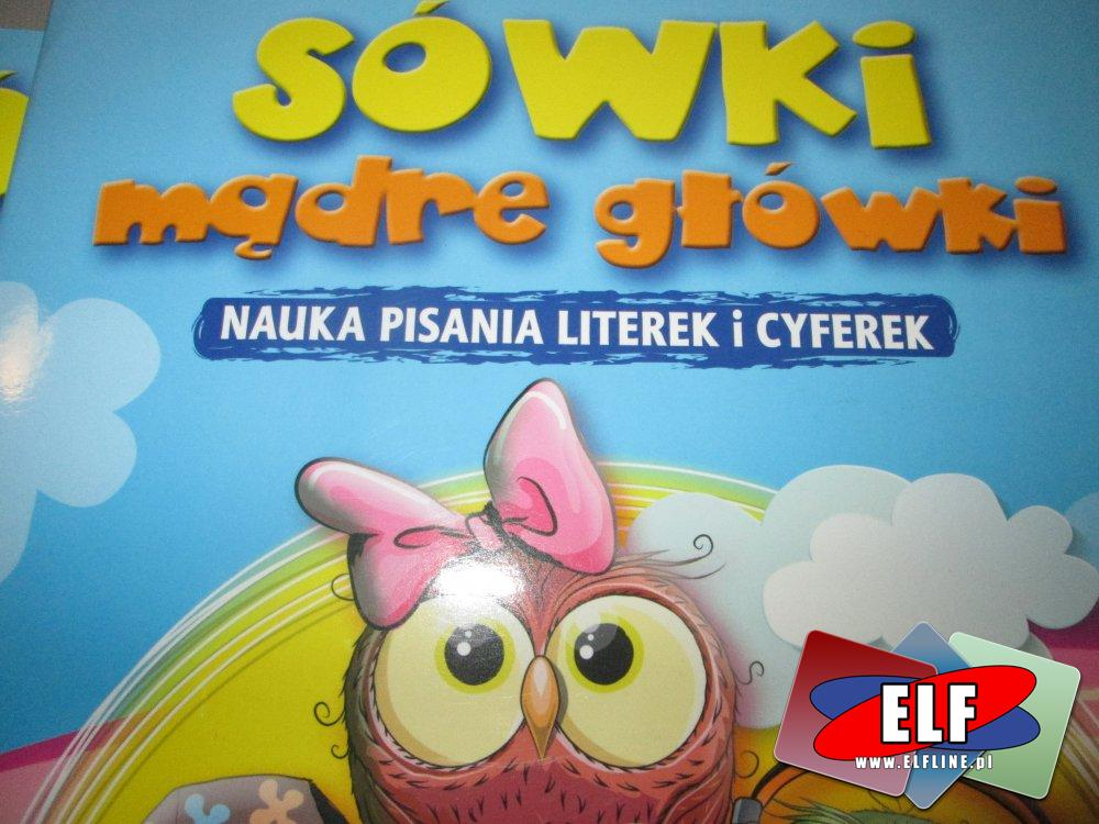 Sówki Mądre Główki, Książka edukacyjna, Książki edukacyjne, nauka pisania literek i cyferek