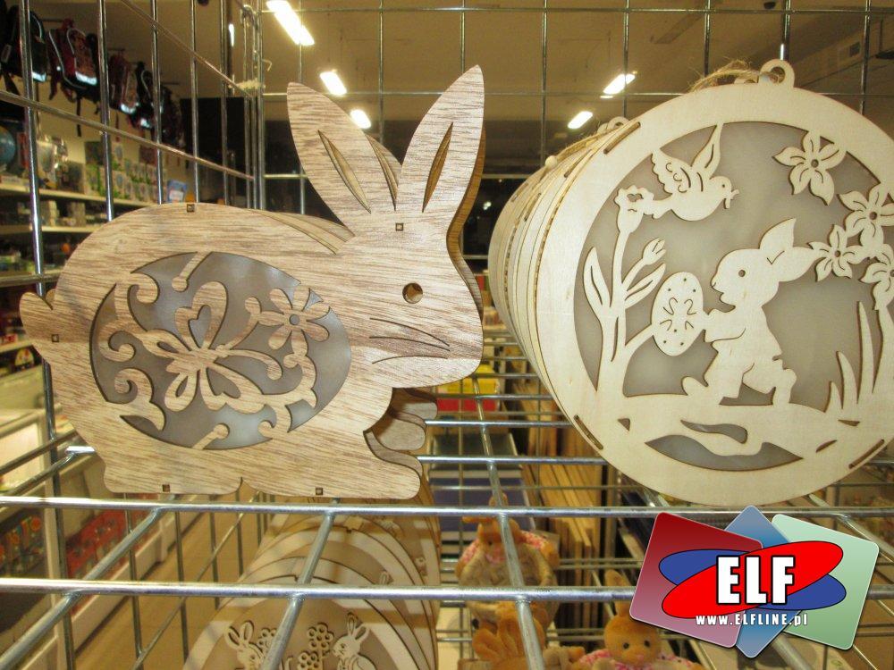 Lamka domek Wielkanocny drewniany, lampki Wielkanocne