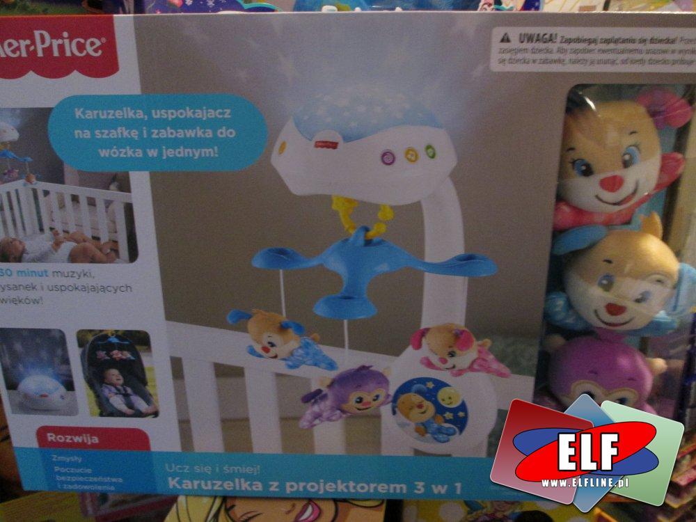 Fisher-Price Karuzelka nad łóżeczko, uspokajacz na szafkę i zabawka do wózka w jednym