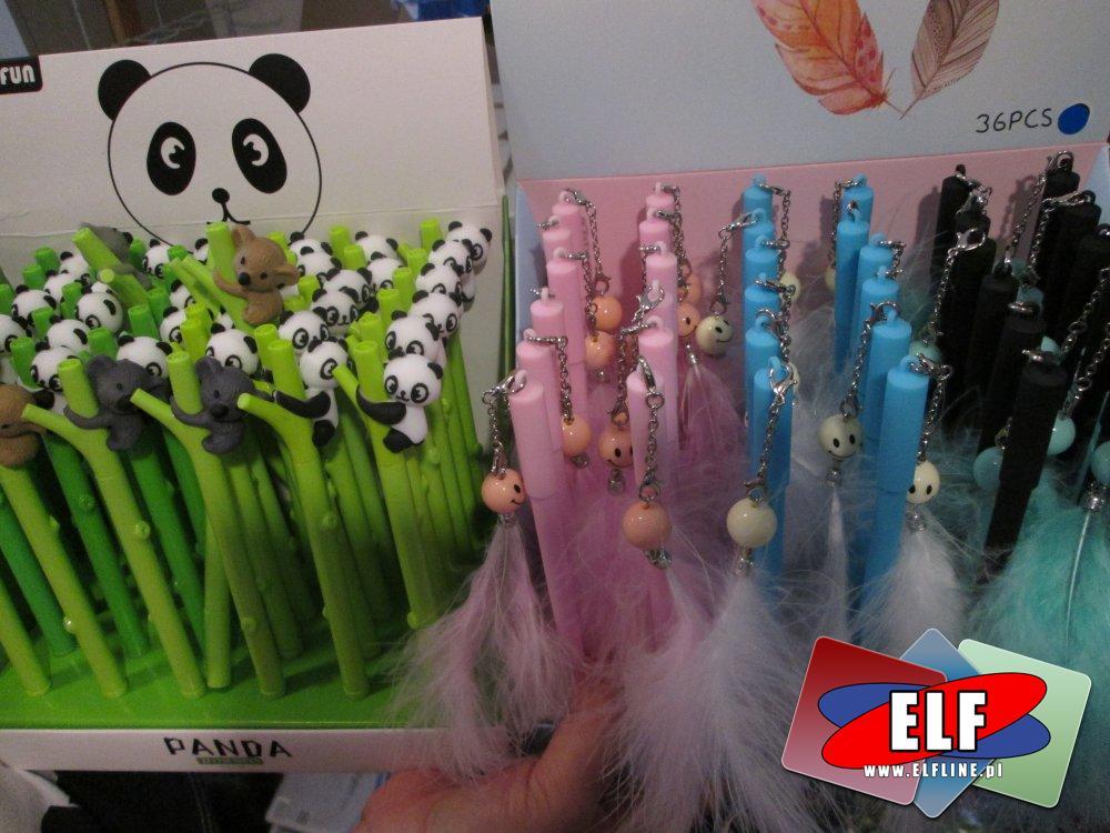 Żelopis, Żelopisy, Długopisy, Długopisy z ozdobami, Piórka, Panda