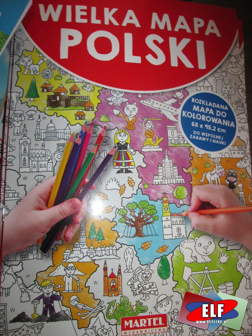 Wielka Mapa Polski Rozkładana Mapa Do Koloro W Sklepie Elf