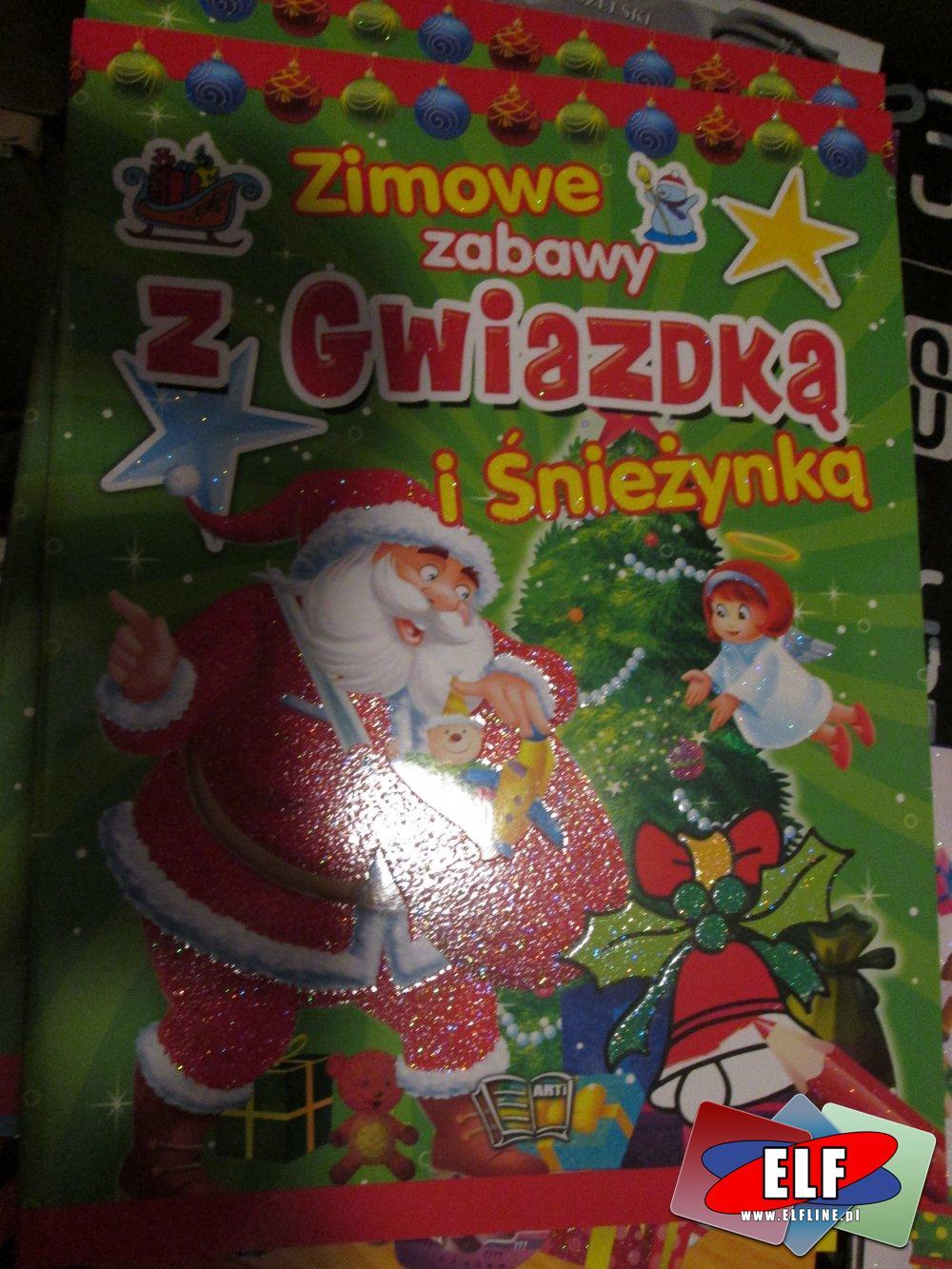 Naklejki i Kolorowanki, Zimowe zabawy: Z mikołajem i Bałwankiem, Gwiazdką i Śnieżynką i inne, Naklejki, Kolorowanki i inne