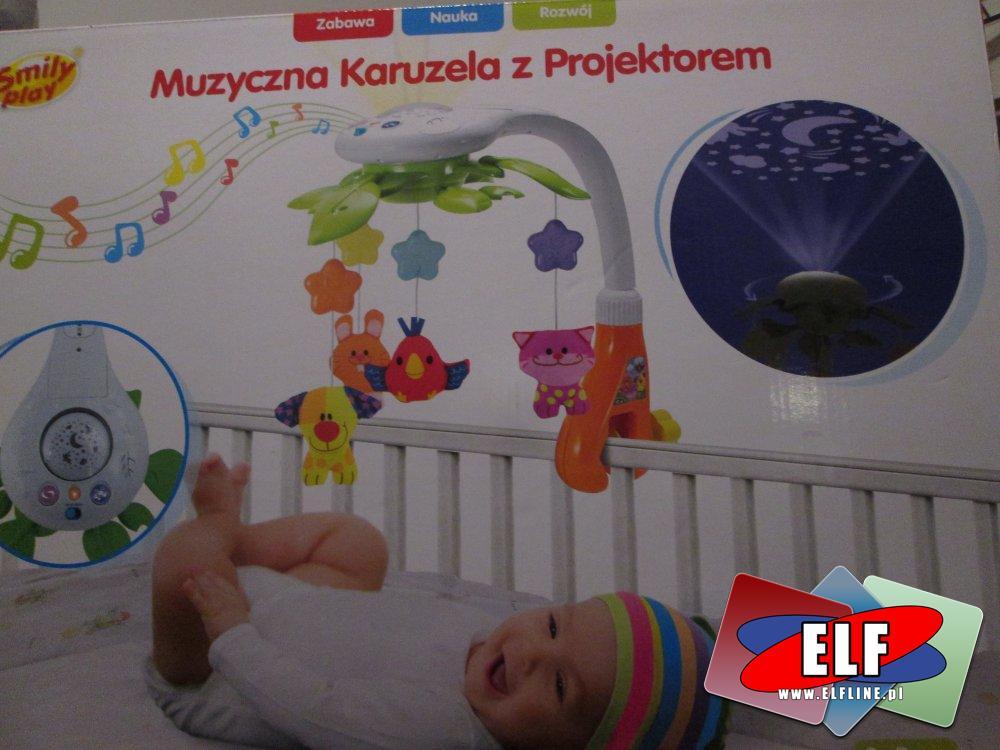 Muzyczna karuzela z projektorem dla maluszka, dziecka, niemowlaka, karuzelki nad łóżeczko, do łóżeczka