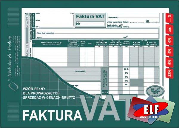 Faktury VAT, Faktura VAT, netto, brutto, z jedną kopią, 1 kopia, dwie kopie, 2 kopie, wielokopia, RR dla rolników, MP mały podatnik, faktura wewnętrzn...