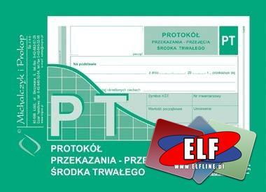 PT, protokół przekazania - przejęcia środka trwałego, druk, druki, bankowy, bankowe