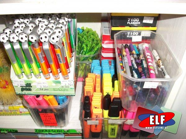 Zakreślacze, długopisy, pisaki