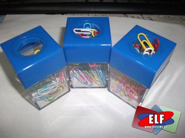 Spinacze biurowe kolorowe z pojemnikiem magnetycznym, spinacz kolorowy biurowy