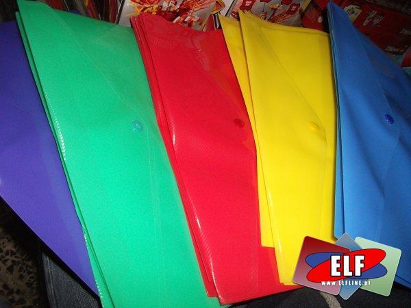 Teczki kopertowe na zatrzask plastikowe przezroczyste i kolorowe, teczka kopertowa na zatrzask kolorowa i przezroczysta