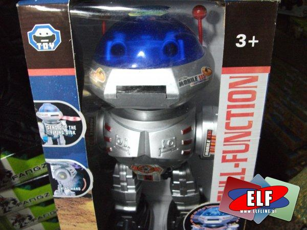 Robot na baterie strzelający krążkami z gąbki, roboty, zabawka, zabawki