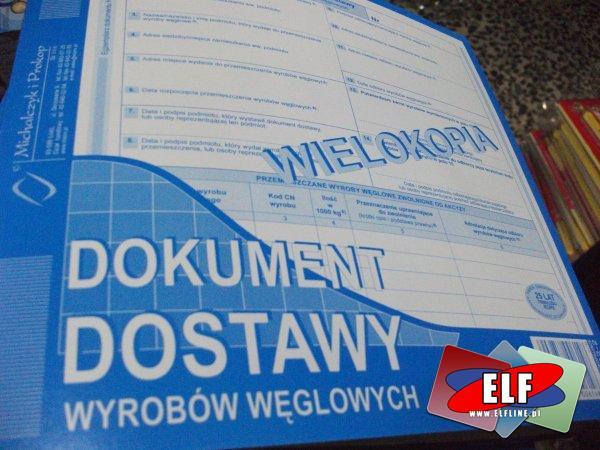Dokument dostawy wyrobów węglowych, druk, druki
