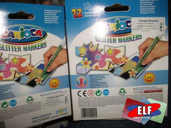 Markery, flamastry brokatowe 12 kolorów, marker, flamaster, pisak, pisaki, mazak, mazaki, brokatowy