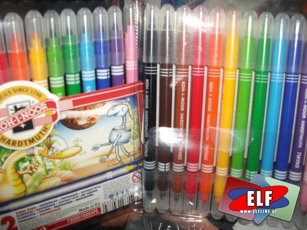 Flamastry dwustronne koh-i-noor 12 kolorów, flamaster, mazak, mazaki, pisak, pisaki, marker, markery, dwustronny