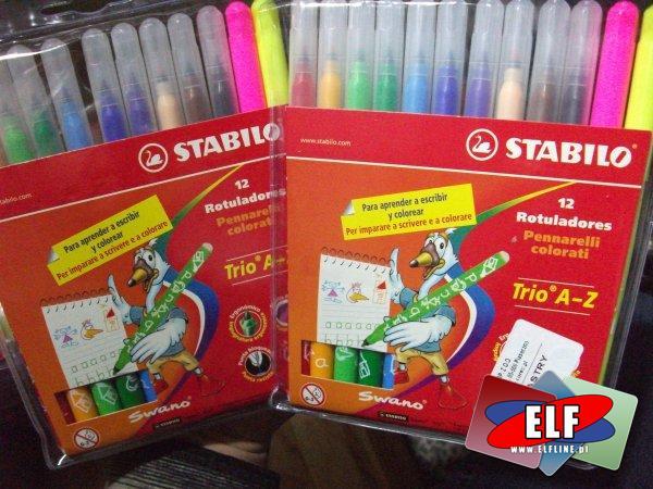 Flamastry stabilo trio a-z 12 kolorów do nauki pisania, flamaster, mazak, mazaki, pisak, pisaki, marker, markery, edukacyjny, edukacyjne