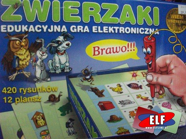 Gry elektryczne, elektroniczne z planszami edukacyjnymi, gra zwierzaki, język angielski, junior, przedszkolak