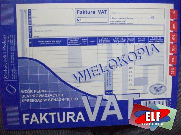 Faktura VAT wielokopia, faktury VAT wielokopie, 100-1, 100-2, 100-3, druk, druki