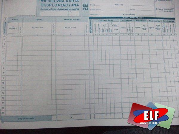 Miesięczna karta eksploatacyjna dla samochodów ciężarowych, sm 114, 803-1, druk, druki