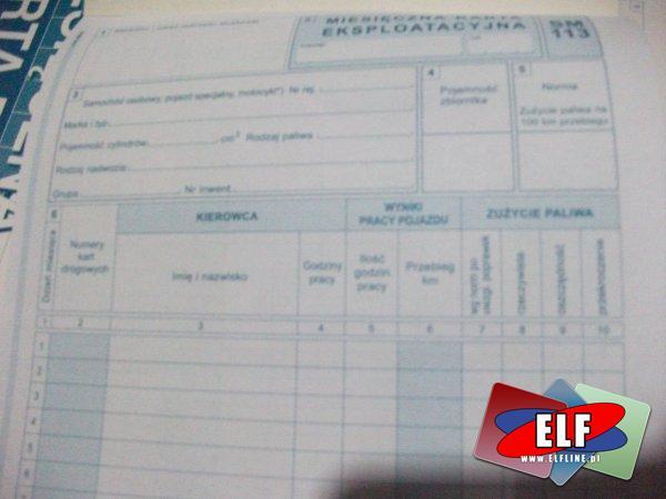 Miesięczna karta eksploatacyjna dla samochodów osobowych, 803-3, druk, druki
