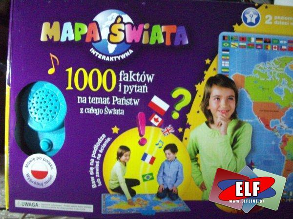 Interaktywna mapa świata, mówiąca, 1000 faktów i pytań na temat państw z całego świata, edukacyjna, obiaśniająca, zabawka edukacyjna, zabawki edukacyjne