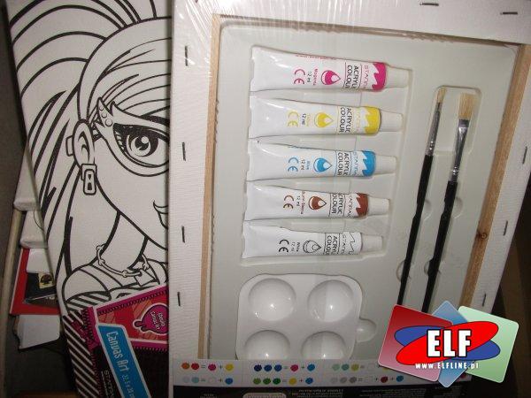 Monster High, podobrazia z farbami, pędzlem, podobrazie do malowania, artystyczne, artystyczny, dla małych artystów
