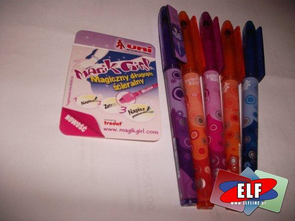 Długopisy ścieralne rużnokolorowe, długopis ścieralny różne kolory, ścieralne, ścieralny, wymnazywalne, wymazywalny, z gumką