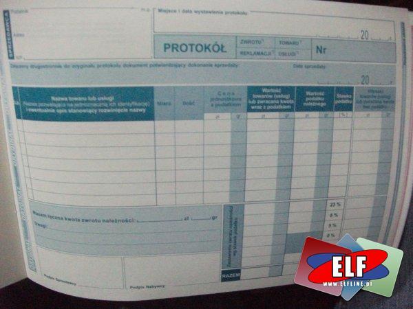 Protokół dla kas fiskalnych, przyjęcia zwrotu towaru lub reklamacji towaru (usługi), protokoły, druk, druki, 173-3E