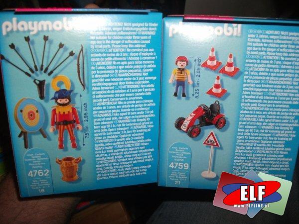 Playmobil, 4762 Łucznik z tarcza, 4759 Gokart wyścigowy, klocki