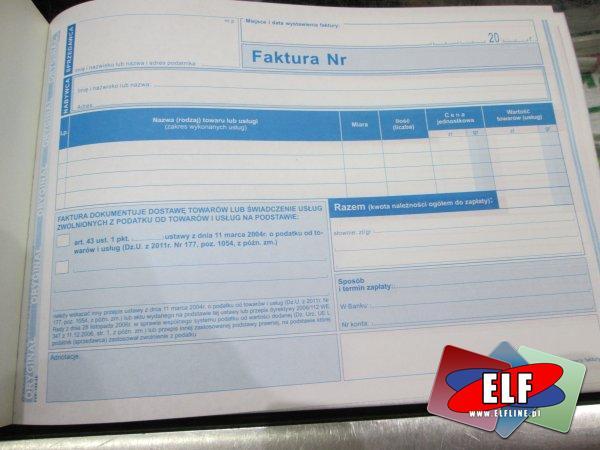 Druk, druki, akcydensowe, akcydensowy, faktura czynności zwolnione z podatku na podstawie art. 43 ust. 1 pkt 2-41 ustawy z 11 marca 2004r. o podatku o...