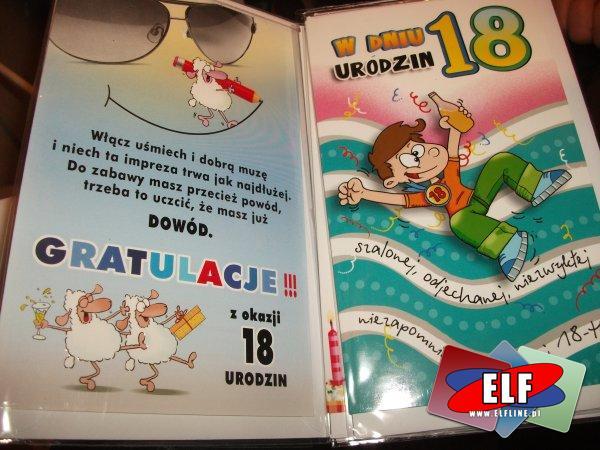 Karnet urodzinowy na 18, karnety urodzinowe, kartka, kartki