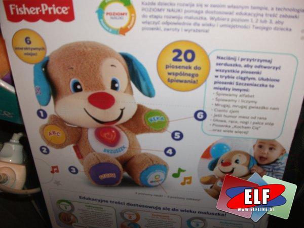 Fisher-Price Szczeniaczek Uczniaczek, uczy literek i alfabetu, liczb i liczenia, kolorów, nazw ciała, edukacyjny, edukacyjne, ponad 50 piosenek do wsp...