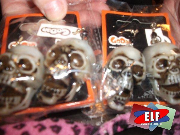 Kolczyki czaszki halloween, kolczyk czaszka