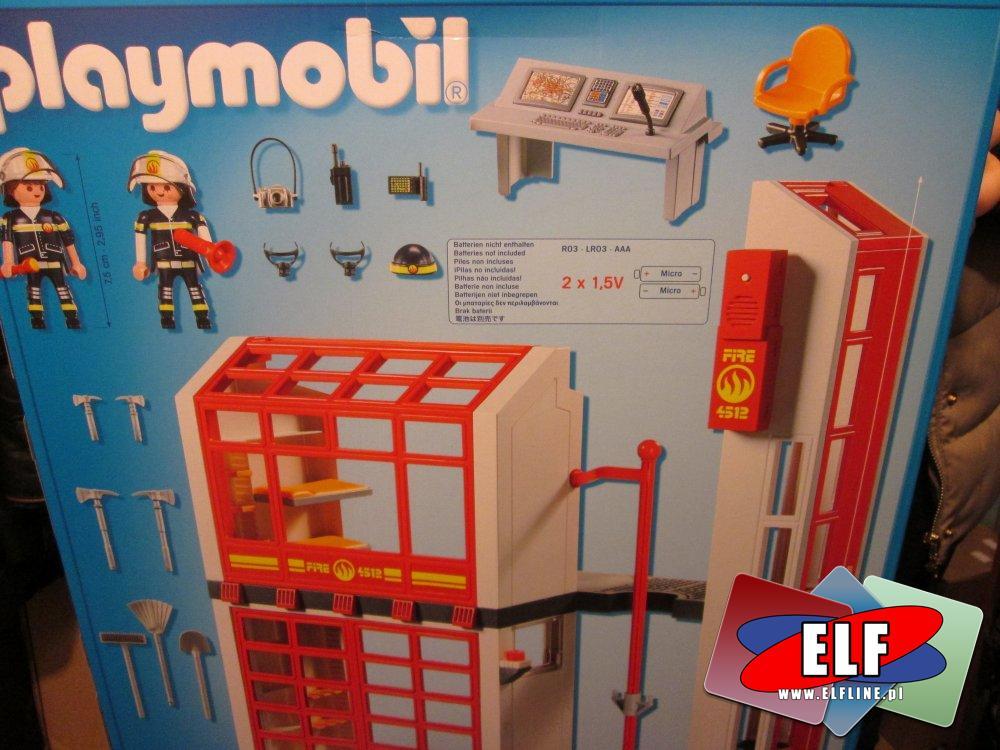 Playmobil 5362 Samochód strażacki z drabiną, światłem i dźwiękiem, 5361 Remiza strażacka z alarmem, straż pożarna, klocki