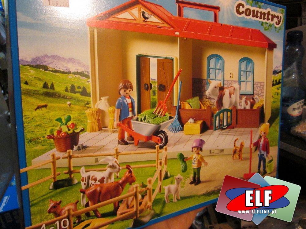 Playmobil Country, farma, 6813 Dźwig do transportu drewna, 4897 Przenośne Gospodarstwo Rolne, klocki
