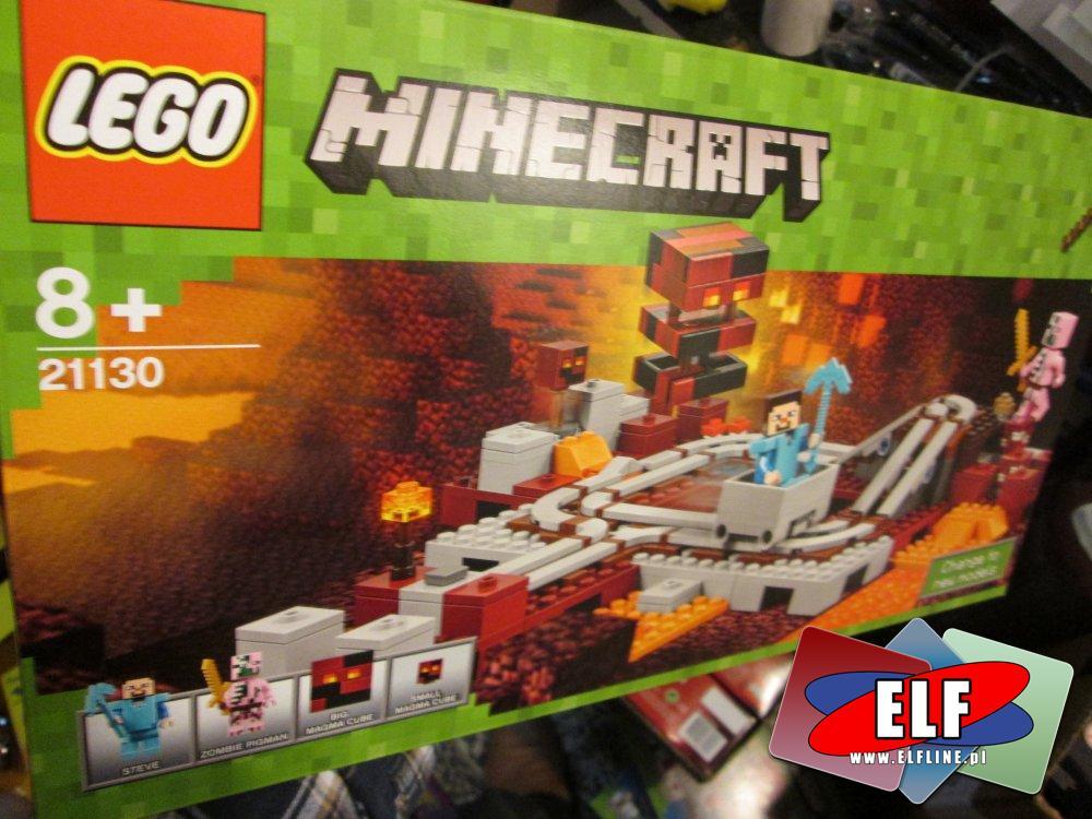 Lego Minecraft, 21130 Linia kolejowa w Netherze, 21129 Grzybowa wyspa, 21123 Minecraft Żelazny Golem, klocki