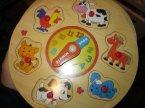 Puzzle drewniane, układanka edukacyjna zegar, edukacyjna do nauki godzin dla maluszków
