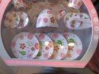 Zestaw herbaciany, filiżanki i talerzyki, zabawkowy zestaw