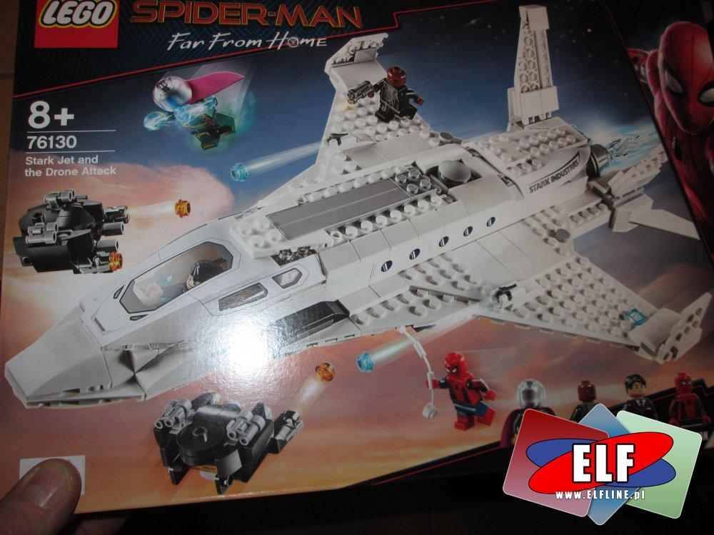 Lego Super-Man, 76130 Odrzutowiec Starka i atak dronów, klocki, Spider Man, SpiderMan