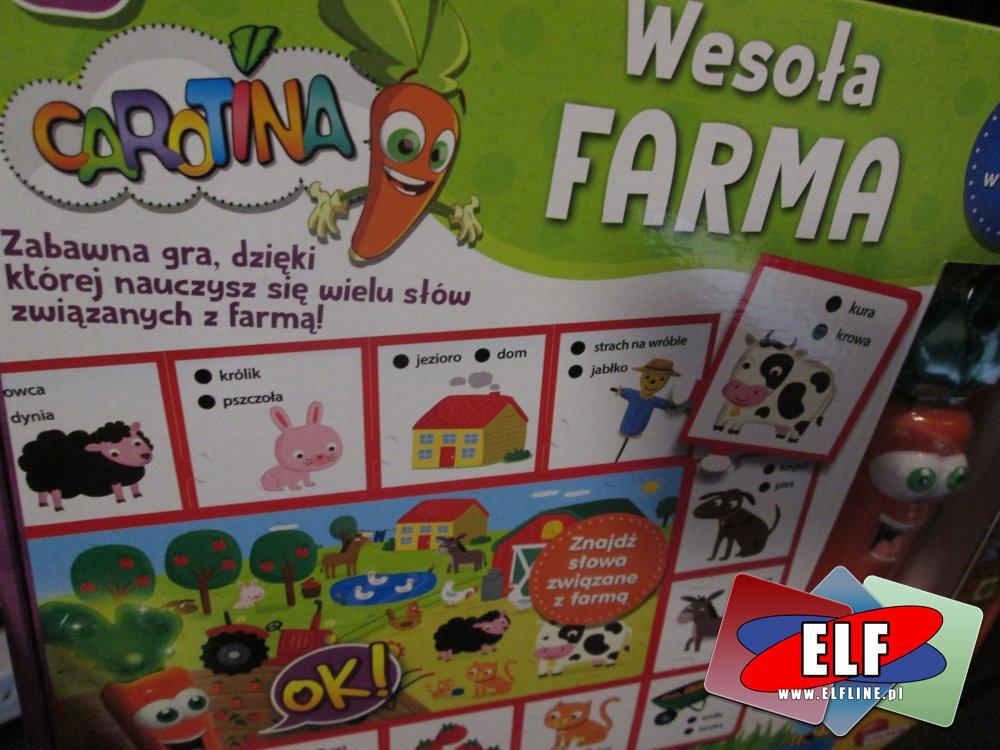 Carotina, Wesoła farma, Zabawka edukacyjna, zabawki edukacyjne, Zabawna gra dzięki której nauczysz się wielu słów związanych z farmą! Gry, Gra