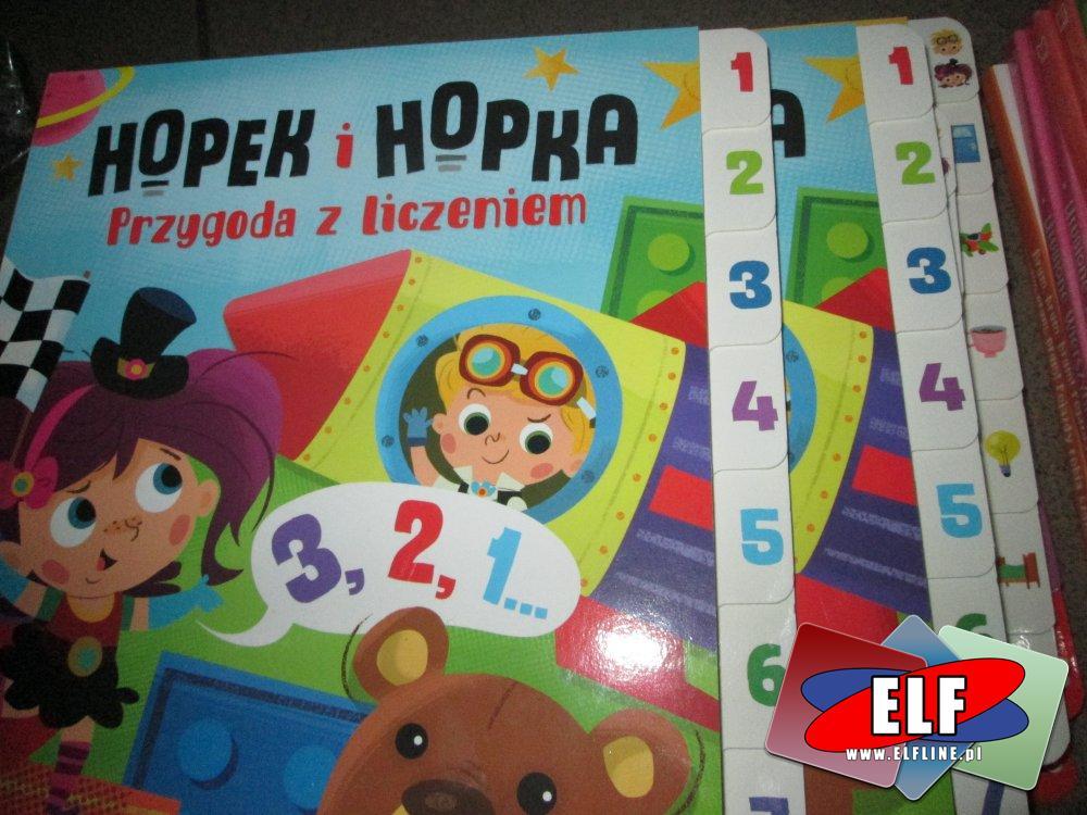 Hopek i Hopka, przygoda z liczeniem, zabawa w chowanego, Książka edukacyjna, Książki edukacyjne