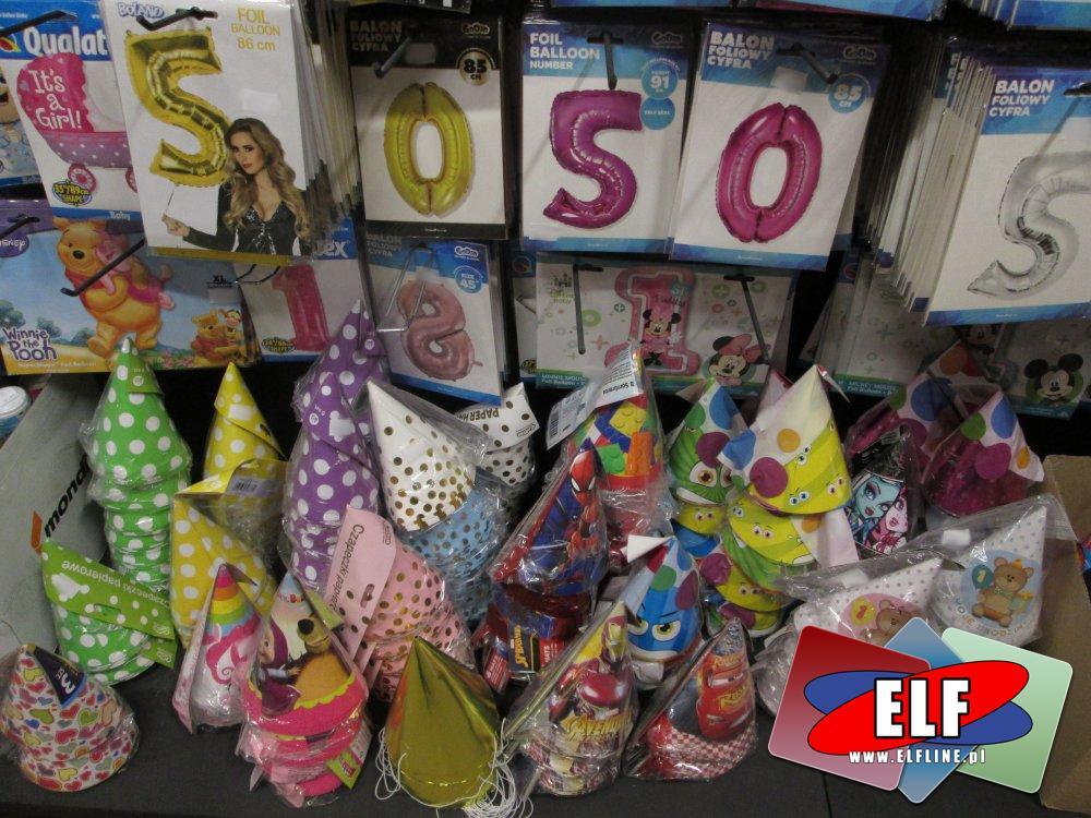Balony Cyfry, Czapeczki imprezowe, urodzinowe i inne akcesoria balowe, imprezowe