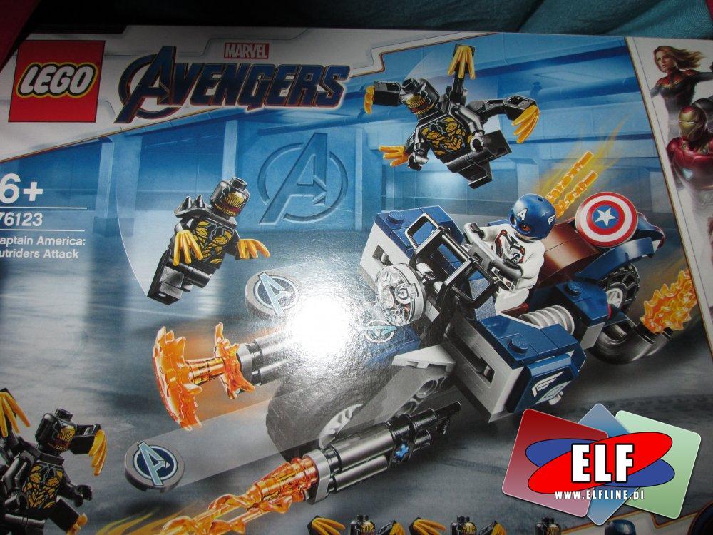 Lego Marvel Avengers, 76123 Kapitan Ameryka, atak outriderów, klocki