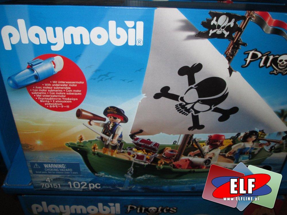 Playmobil, 70150 Przenośna wyspa piracka, 70151 Statek piracki, klocki, zabawki