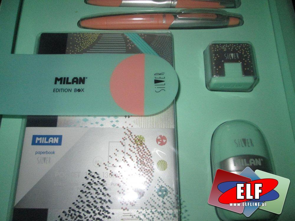 Milan Edition Box Silver, Pudełko upominkowe zawiera 5 produktów. Temperówka, długopis, ołówek automatyczny, kieszonkowy zeszyt
