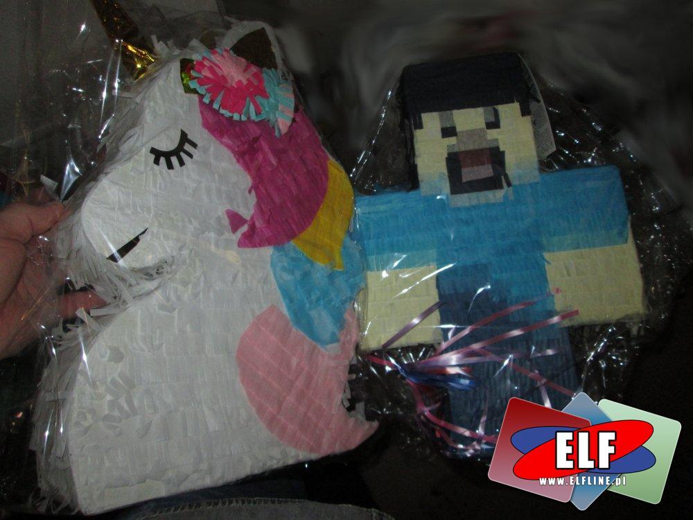 Piniata, Piniaty, Różne kształty i wzory, Jednorożec, Minecraft, Ciuchcia, Samolot itp.
