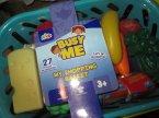 Koszyk sklepowy z produktami, zabawa w sklep, produkty żywnościowe zabawkowe, zabawka, zabawa w dom, zakupy