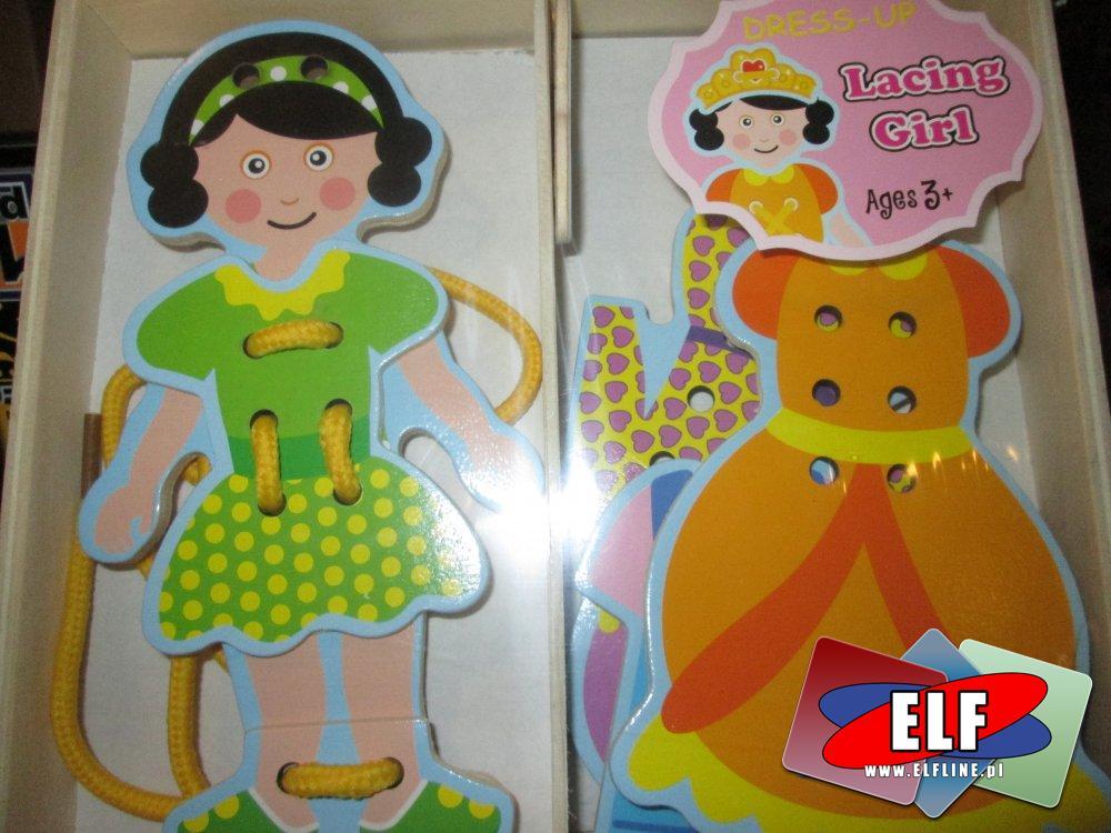 Lacing Girl, Układanka drewniana, Puzzle kreatywne