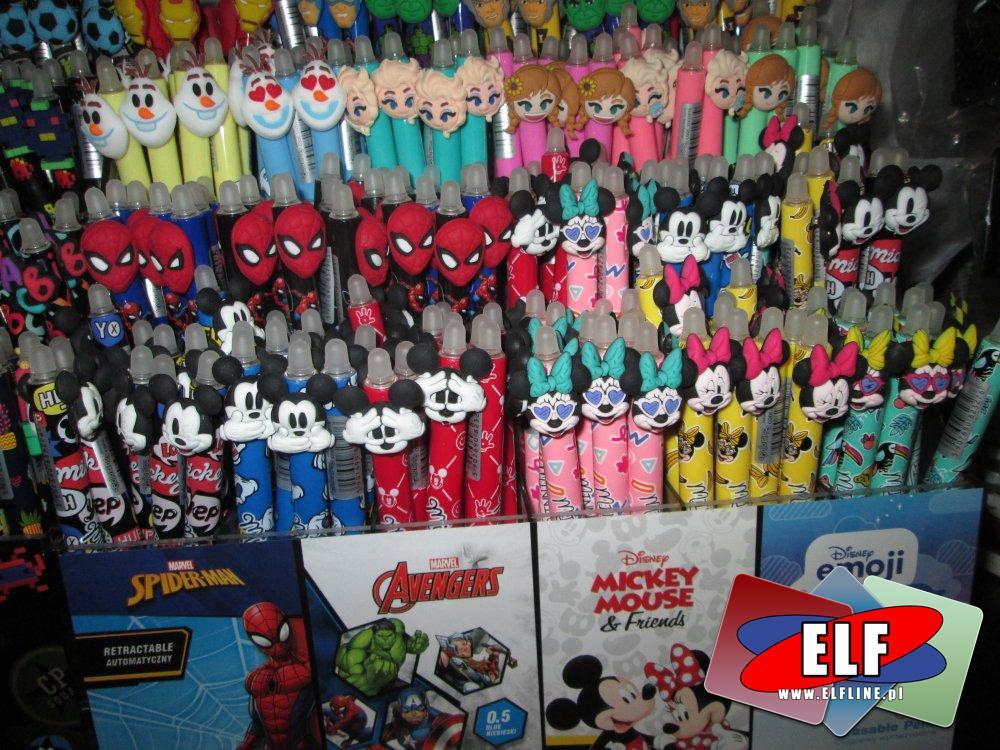 Długopisy z fajnymi końcówkami, Spider-Man, Avengers, Micky Mouse, Emoji długopis