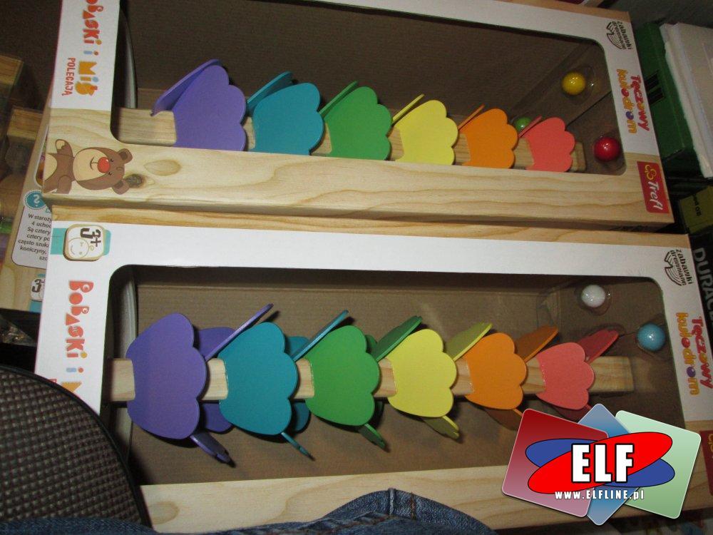 Trefl, Bobaski i Miś, Tęczowy Kulodrom, zabawki drewniane, zabawka drewniana