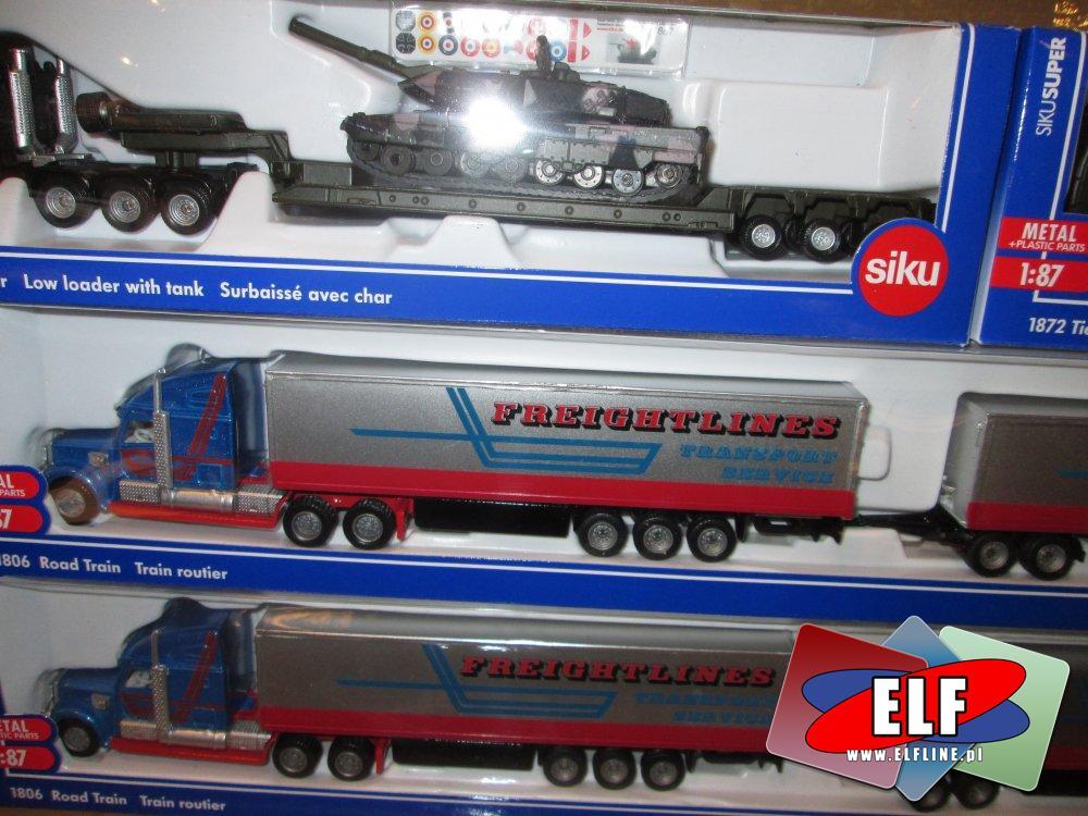 Siku, Wagony, Kolejki, Kolejka, Wagon z czołgiem, Ciężarówka, Ciężarówki i inne modele pojazdów, samochodów i innych maszyn