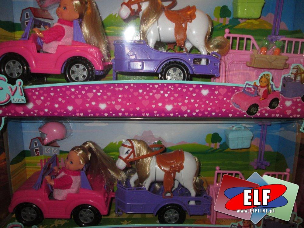 Laleczka Evi w samochodziku z kucykiem, lalki, laleczki