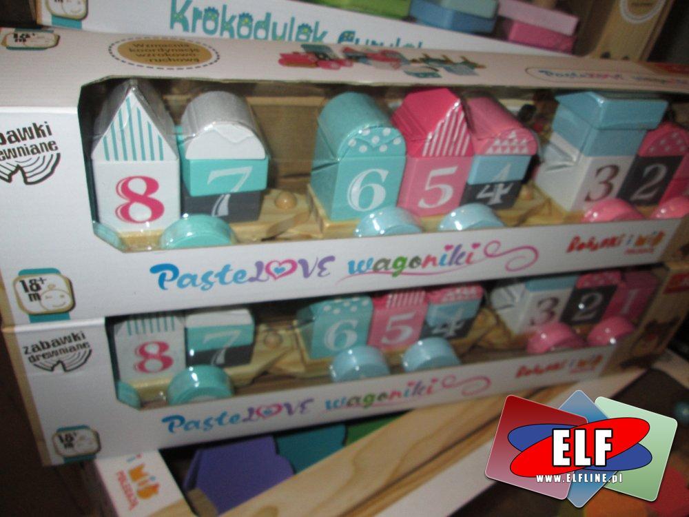 Trefl, Bobaski i Miś, Pastelowe wagoniki, zabawki drewniane, zabawka drewniana